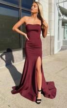 Burgundy Mermaid Prom Formal Dress with Corset Back JTA1601