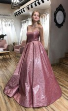 A Line Scoop Spaghetti Straps Sparkle Prom Evening Dress with Pockets JTA1631