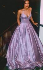 A Line V Neck Spaghetti Straps Purple Prom Evening Dress with Pockets JTA1671