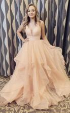 Elegant Straps Champagne Long Prom Formal Dress with Ruffles JTA1681