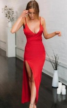 Red Elastic Satin V Neck Spaghetti Straps High Split Mermaid Prom Dress JTA1711