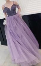 Elegant Cold Shoulder Beaded Lavender Long Prom Party Dress JTA1821
