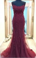 Straps Mermaid Burgundy Beaded Long Prom Formal Dress JTA1911