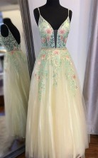 Gorgeous Straps A Line Floral Embroidered Long Prom Formal Dress JTA1951