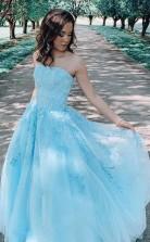 A Line Blue Lace Appliques Long Prom Formal Dress JTA1961