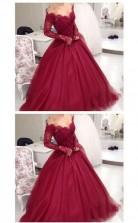 Long Sleeves Ball Gown Burgundy Quinceanera Dress Prom Dress JTA2001