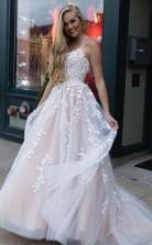 A line Appliques Prom Dress Spaghetti Straps Long Evening Dress JTA2031
