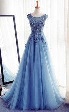 Blue Round Neck Tulle Lace Long Prom Dress Blue Evening Dress JTA2041