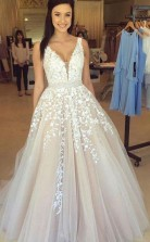 A Line V Neck Light Long Prom Dress With Tulle A LinePrincess JTA2071