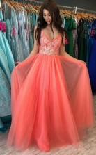 A Line V neck Watermelon Rustic Prom Dress With Lace Prom Gowns  JTA2161