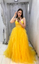 Yellow Tulle Prom Dress A Line Sleeveless Evening Gown  JTA2171