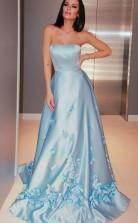 A Line Satin Flower Strapless Sleeveless Sweep Train Prom Dress JTA2321