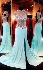 High Neck Baby Blue Open Back Sweep Train Prom Dress JTA2771