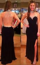 Halter Black Split Floor-Length Prom Dress With Beading Rhinestones JTA2811