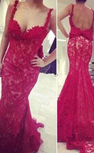 Mermaid Lace Red Prom Dress Evening Gown Party Dresss JTA2851