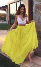 Two Piece Sweetheart Yellow Chiffon Lace Prom Formal Dress JTA2881