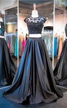 Two Piece A Line Black Cap Sleeve Prom Formal Dress JTA2911