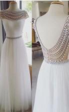Cap Sleeves White Beading Backless Prom Formal Dress JTA2921