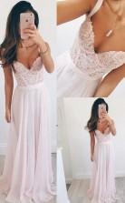 V Neck Long Chiffon Baby Pink Long Prom Formal Dress JTA2961