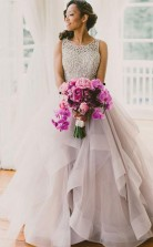 Scoop Sleeveless Organza Prom Dress Evening Gowns with Sweep Train JTA3021