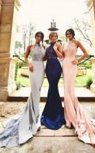 Mermaid Halter Train Satin Sleeveless Long Prom Dress with Appliques JTA3151
