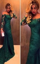 Off the Shoulder Long Sleeves Mermaid Lace Evening Dress Prom Dress JTA3181
