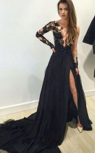 A Line V Neck Long Sleeves Appliques Black Evening Gowns Prom Dress JTA3201
