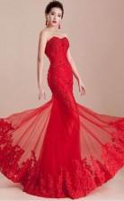 Mermaid Sweetheart Appliques Beading Lace-up Long Prom Dress JTA3211