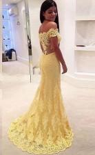 Off-the-Shoulder Mermaid  Lace Court Train Prom Formal Dress JTA3301