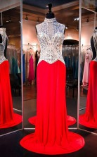High Neck Sleeveless Red Evening Dress Prom Dress With Beading JTA3321