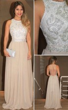 High Neck Chiffon Sequins Evening Dress Prom Gowns With Beading JTA3371