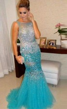Luxurious Mermaid Straps Beading Crystal Evening Dress Prom Dress JTA3431