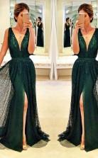 Sleeveless V Neck Front-Split Sexy Dark-Green Prom Dress JTA3451