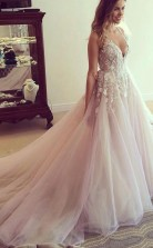 Scoop V Neck Long Prom DressProm Dress with Appliques JTA3591