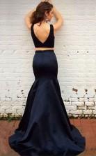 Elegant Two Piece Black Mermaid Sweep Train Prom Dress with Beading JTA3611