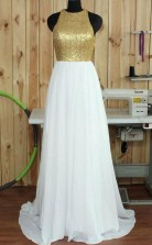 Simple Round Neck Sweep Train Open Back White Prom Dress With Sequins JTA3631
