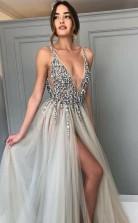 Deep V Neck Backless Split Sweep Train Grey Prom Dress with Beading JTA3651