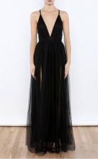 Sexy Black V Neck Side Slit Tulle Evening Gowns Prom Dress JTA3671