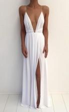 Sexy V Neck Spaghetti Strap Prom Dress With Front Split JTA3691