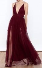Sexy Deep V Neck Tulle High Slit Burgundy Prom Formal Dress JTA3731