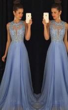 Blue Prom Dress Elegant Evening Dress Beaded Party Dress JTA3761
