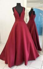 Burgundy Satin Prom Dress A Line Prom Dress Straps Evening Dress JTA3771