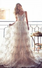 Spaghetti Straps Lace A Line Backless Prom Dress Bridal Gowns JTA3781