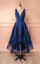 Deep Blue V Neck High Low Lace Satin Prom Dress Bridesmaid Dress JTA3841