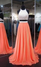 A Line Halter Chiffon Sweep Train Backless Two Piece Prom Dress JTA3861