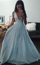 A Line Deep V Neck Light Blue Prom Dress with Appliques Beading JTA3871
