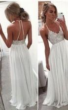 Spaghetti Strap Open Back A Line Long Chiffon Prom Formal Dress JTA3881