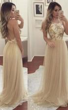 Elegant Tulle Open Back Long Prom Dress Party Dress JTA3891