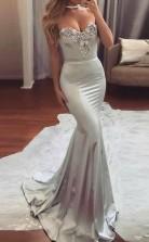 Mermaid Sweetheart Sweep Train Satin Prom Dress with Beading JTA3901