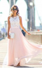 Gorgeous Crew Long Pink Chiffon Prom Dress with White Lace Top JTA3911
